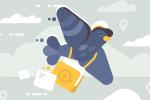 Pigeon vole avec l'icône courrier