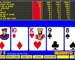 écran de vidéo poker